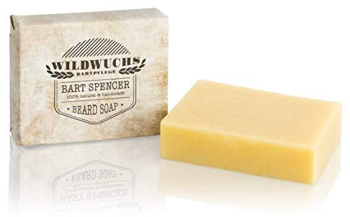 Jabón para barba Bart Spencer de Wildwuchs para el cuidado de la barba, pastilla de jabón para hombres 100% natural y vegana, cosmética natural (1 x 90 g)