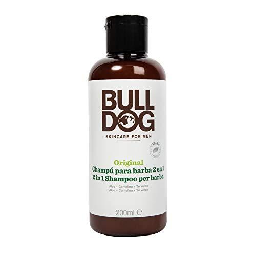 Bulldog Skincare - Champú y Acondicionador 2 en 1 para Barba, con Ingredientes Naturales Aloe, Aceite de Cameila y Té Verde, 200 ml