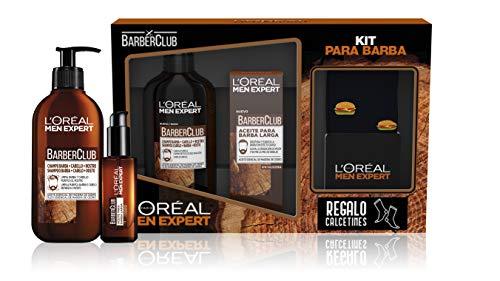L'Oreal Paris Men Expert Pack Cuidado de la Barba, Incluye Champú 3 en 1 para Barba, Cabello y Rostro y Aceite para Barba Larga BarberClub, Calcetines de regalo