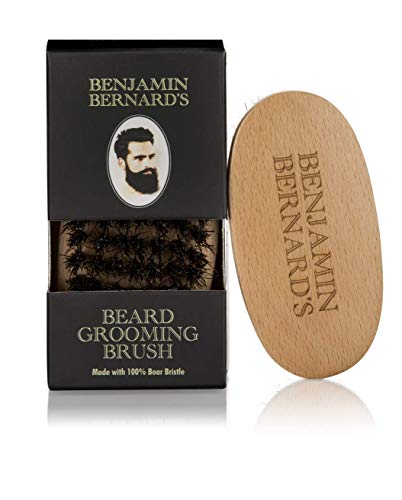 Benjamin Bernard's 100% Natural Boar Bristle Beard Brush for Men's Beard Care: Perfect Styling and Grooming Brush to Soften and Condition Beards – 9 * 4.5cm