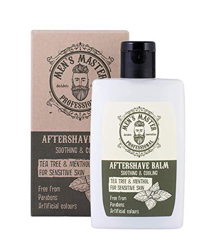 Bálsamo Aftershave en Crema'Árbol de té y mentol' para después del afeitado, para pieles sensibles con efecto refrescante. Sin parabenos, sin colorantes artificiales, 120 ml de Men's Master.