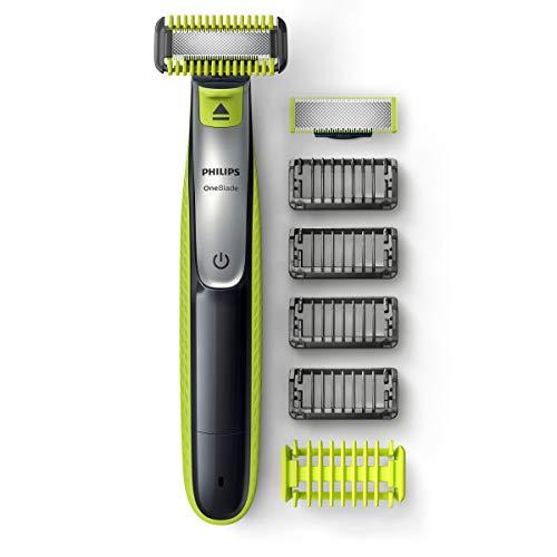 Philips OneBlade Cara + Cuerpo QP2630/30 - Recortador de Barba recargable con 4 Peines-guía para barba y 1 para Cuerpo, Recorta, Perfila y Afeita cualquier longitud en seco y húmedo