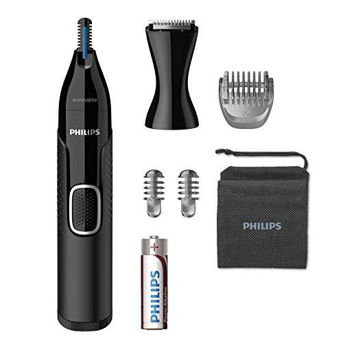 Philips Serie 5000 NT5650/16 Naricero tecnología PrecisionTrim,protección de la piel,accesorio para barba,accesorio cortapatillas,cepillo para limpieza del dispositivo,2 peines,funda y pila incluída