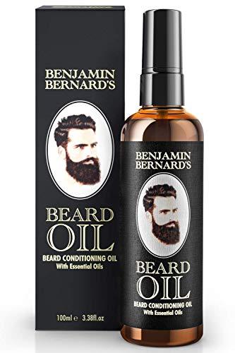 Aceite de Barba para Hombres de Benjamin Bernard - Aceite Acondicionador - Crecimiento y Salud - Estilo Cuidado - Perfumado Suave, con Aceite de Jojoba y Almendras - Cuidado Vegano - 100ml