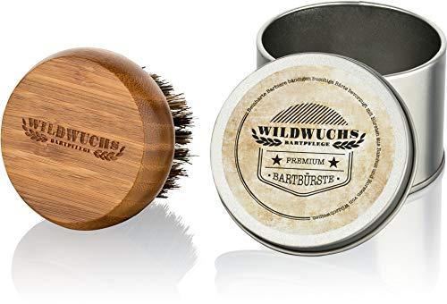 Cepillo para barba con cerdas naturales de jabalí y mango de bambú de primera calidad de Wildwuchs Bartpflege