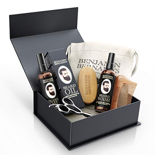 Beard Grooming Kit by Benjamin Bernard - Scissors, Oil, Wash, Wooden Comb and Brush Package Set - Natural Skin Moisturizer, Cleanser and Conditioner - Complete Moustache Growth Care Gift Box for Men