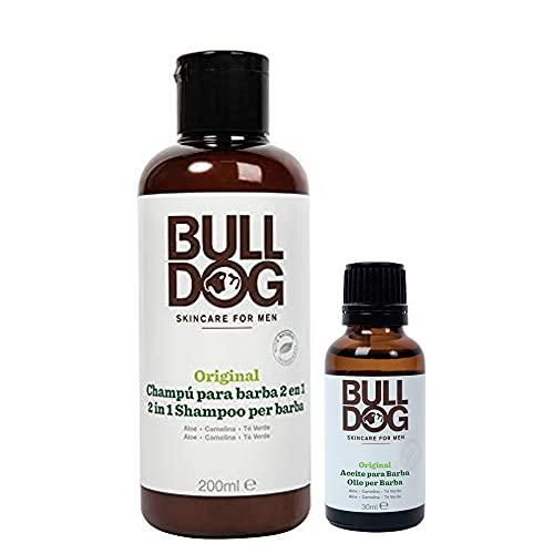 Bulldog Skincare - Pack Cuidado de Barba con Champú y Acondicionador, 200 ml y Aceite para Barba, 30 ml - Ingredientes Naturales: Aloe, Aceite de Camelia, Té Verde