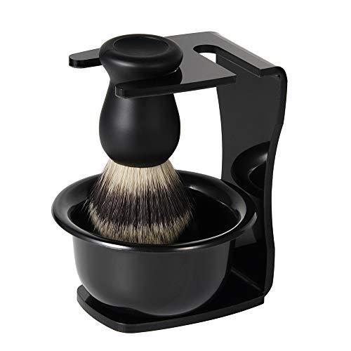 QueenNa 3 en 1 Juego de brochas de Afeitar Nailon Brocha de afeitar para el cabello + Jabón de afeitar Tazón + Sostenedor de Afeitado Regalo de Herramienta de Limpieza de Barba para Hombres