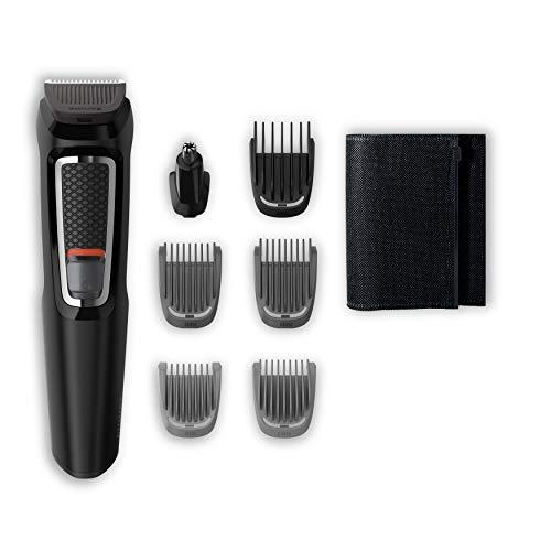 Philips MG3720/15 Recortadora 7 en 1 Maquina recortadora de barba y Cortapelos para hombre cara y cabeza, accesorios para nariz y orejas, 60 minutos de autonomía, Negro