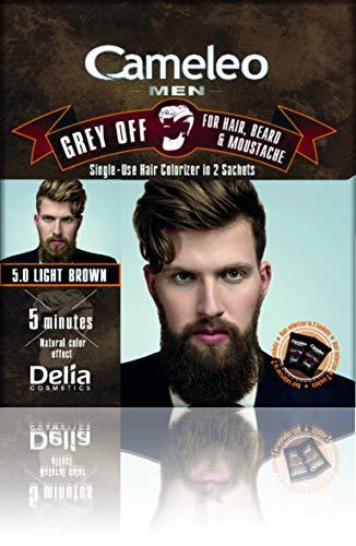 Cameleo Men Color Cream Grey OFF Colorizador de un solo uso en 2 sobres para cabello, barba y bigote 5 min. Efecto de color natural! 0% Parabenos Amoníaco PPD (Marrón claro)