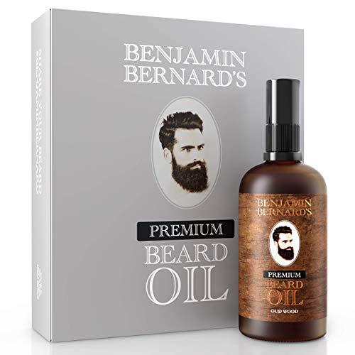 Premium Beard Oil by Benjamin Bernard - Male Grooming Blend with Essential Jojoba Oils and Vitamin E - Natural Hydrating Treatment - Facial Hair Shaping Serum and Softener for Men - Oud Wood - 100ml