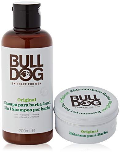 Bulldog Skincare - Pack Barba con Champú y Acondicionador de Barba, 200 ml y Bálsamo Hidratante de Barba, 75 ml - Ingredientes Naturales: Aloe, Aceite de Camelia y Té Verde