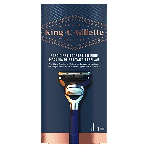 King C. Gillette Máquina de Afeitar Hombre con Precision Integrada + 1 Cuchilla de Recambio, Regalos Originales para Hombre