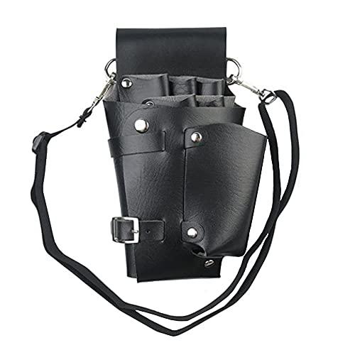 Cinturón Peluquería, Herramienta Cinturón Peluquería, Cinturón Herramientas Peluquería, para Tijeras Depositarias, Maquinillas de Afeitar, Horquillas para el Cabello, Pinceles de Maquillaje (Negro)