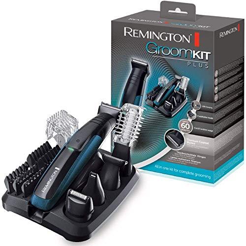 Remington Groom Kit Plus PG6150 - Recortador de Barba y Cortapelos, 12 Accesorios y Barbero, Inalámbrico, Lavable, Apto para Vello Corporal, de Nariz y Orejas, Negro y Azul