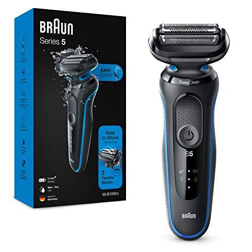 Braun Series 5 Afeitadora Eléctrica Hombre, Máquina de Afeitar Barba con Tecnología Easy Clean (Fácil de Limpiar), Recargable, Inalámbrica, 50-B1000 S, Azul