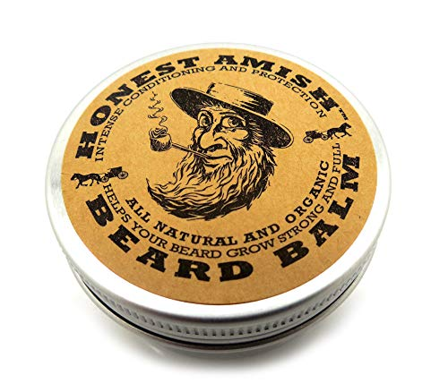 Honest Amish Beard Balm Acondicionador sin enjuague - Hecho solo con ingredientes naturales y orgánicos - Estaño de 2 onzas