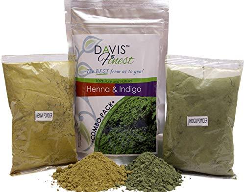 Davis Finest - Tinte para el Cabello, juego de 100 g de polvo de henna y 100 g de polvo de índigo, tinte natural para cabello o barba, marrón/negro, sin PPD