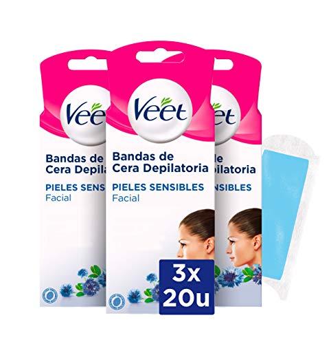 Veet Bandas de Cera Fria Depilatoria para Depilación Facial Adecuado para Labio Superior (Bigote), Easy Gelwax, Pieles Sensibles, 3 x 20 Tiras, Total 60 Unidades