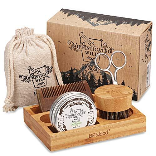 BFWood Kit para el Cuidado de la Barba con Soporte de Bambú para Hombres – Cepillo, Peine, Tijeras y 30g de Bálsamo, para Recortar, Asear, suavizar y Acondicionar la Barba