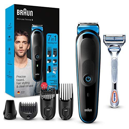 Braun Recortadora de Barba 7 en 1, Máquina Cortar Pelo, Cortapelos Nariz, Facial, MGK 3221, Negro/Azul