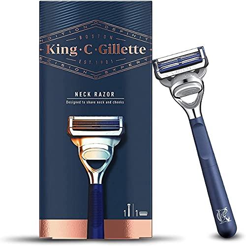 King C. Gillette Máquina de Afeitar Hombre para Cuello con Hojas de Acero Inoxidable + 1 Cuchilla de Recambio, Regalos Originales para Hombre