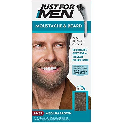 Just For Men - Tinte de barba y bigote para hombre, color marrón medio (M35), 1/ paquete