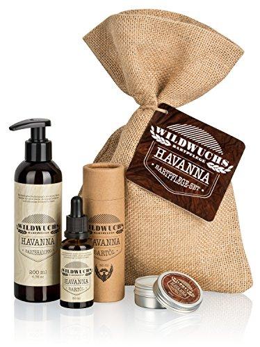 Kit para el Cuidado de la Barba HAVANNA y Set de Regalo para el Cuidado de la Barba con Aceite de Barba, Cera de Barba y Champú de Barba de Wildwuchs Bartpflege