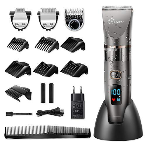 HATTEKER Cortapelos por Hombre Maquina de Cortar el Pelo Cortadora de Pelo Barbero Electric Recortador de Barba y Precisión Waterproof