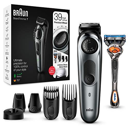 Braun Recortadora de Barba con Gillette Fusion 5 ProGlide Maquinilla de Afeitar Hombre, 4 Cabezales y 39 Ajustes de Longitud, Cuchillas Afiladas de Larga Duración, BT 5265, Negro/Gris