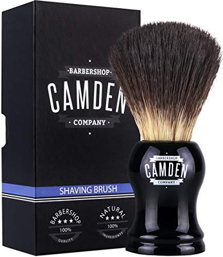 Brocha de afeitar de Camden Barbershop Company ● Vegan Badger 2.0 ● Para afeitado húmedo ● Pelo vegano parecido a tejón