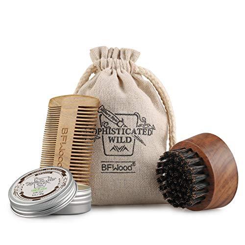 BFWood Juego de Cepillo y Peine para la Barba - Cepillo Redondo de Nogal para la Barba y Peine de Madera de sándalo