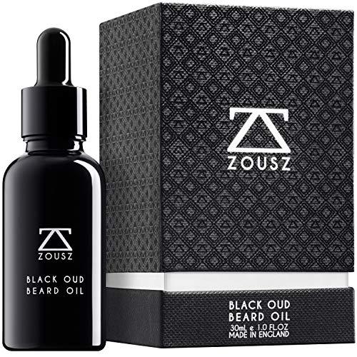 ZOUSZ Aceite para Barba - Cuidado con Oud Negro y Madera con Aceites Naturales de Aguacate y Argán - Suavizante e Hidratante para el Cabello Facial No Graso - Regalo Vegano para Hombres - 30mL